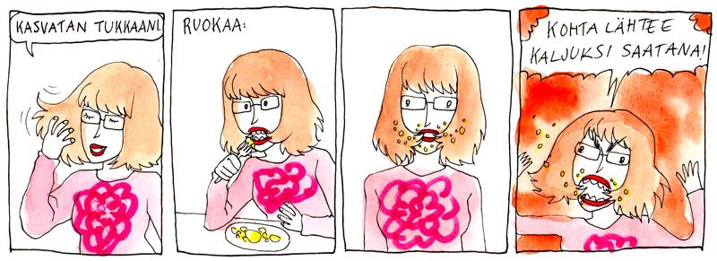 tukkaa suussa